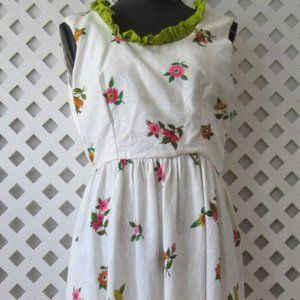 Women Vintage White Floral Long Maxi Dress Size L